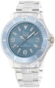 ICE-Watch - Montre Mixte - Quartz Analogique - Ice-Pure - Blue - Big - Cadran Bleu - Bracelet Plastique Transparent - PU.BE.B.P.12