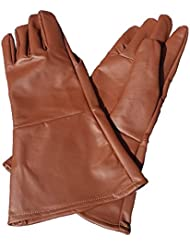 Leather Gauntlet Gloves TOBACCO BROWN LARGE