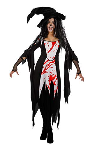Wilbers Hexe Hexenkostüm Hexen Blut Kleid Damen Kostüm Halloween Witch Damenkostüm 34-48 Schwarz/Weiß/Rot 48 ()