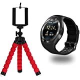 Captcha Portable & Adjustable Foldable Octopus Mini Gorilla Tripod Stand With Bluetooth Y1 Round Screen Smartwatch For Honor 7X & Oppo F9