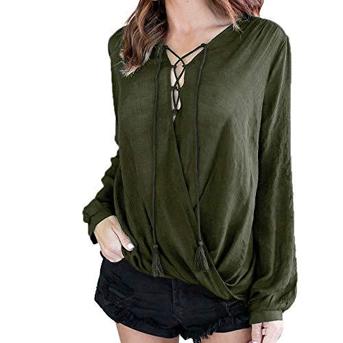 TianWlio Langarm Bluse Damen Frauen Mode V-Ausschnitt Solid Langarm Damen Lose Tops Shirt Bluse