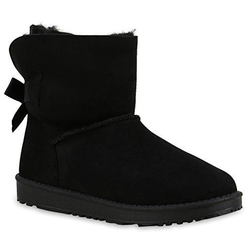 Warm Gefütterte Damen Stiefel Schlupfstiefel Boots Stiefeletten Schuhe 129275 Schwarz Schleife 39 Flandell