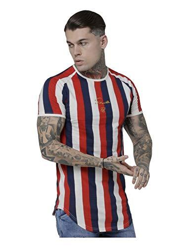 Sik Silk Herren T-Shirt S/S Rotary Stripe Raglan Gym Tee Mehrfarbig Red/Navy/Off White, Größe:S - Stripe Silk Shirt