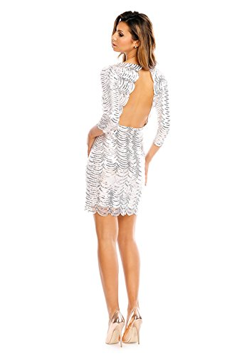 Paillettenkleid rückenfrei Cocktailkleid Abendkleid mit Pailletten bestickt rückenfrei silber M - 4
