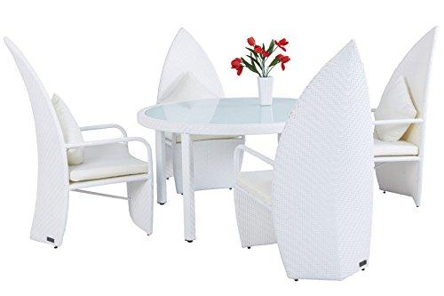 OUTFLEXX Leaf-Chair Esstischgruppe aus widerstandsfähigem Poly-Rattan in weiß für 4 Personen, runder Tisch mit starker Glasplatte, Durch. 140 cm, ausgefallene Designstühle, wetterfest pflegeleicht Ausgefallene Esstisch