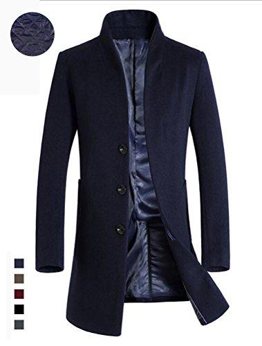 Vogstyle Uomo Sottile Caloroso Cappotto Invernale Di Lana Trapuntato Blu L