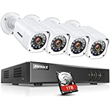 ANNKE 4CH 1080P Lite DVR Outdoor Security Camera System with 1TB Hard Drive and 4x HD TVI 720P Bullet Camera