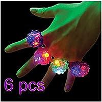 ABCMOS 6pcs Strawberry Shape Flashing Led Ring Light Finger Lamp