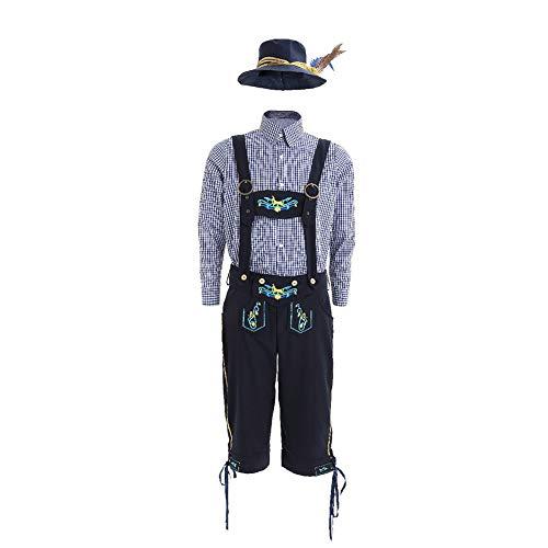 Leoie Herren Deutsche Lederhose Shorts Kostüm Bayern Oktoberfest Karneval Halloween Gr. XL, Siehe - Männer Deutsches Lederhosen Kostüm