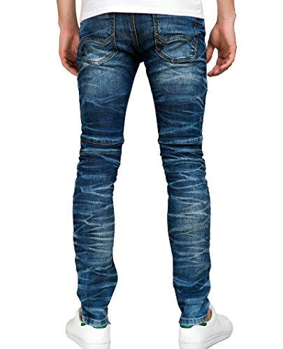 Red Bridge Herren Harsh Biker Röhrenjeans Skinny- Jeans Blau Standard