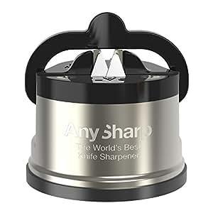 AnySharp Pro Affilacoltelli (Metal) con Ventosa, Metallo Spazzolato