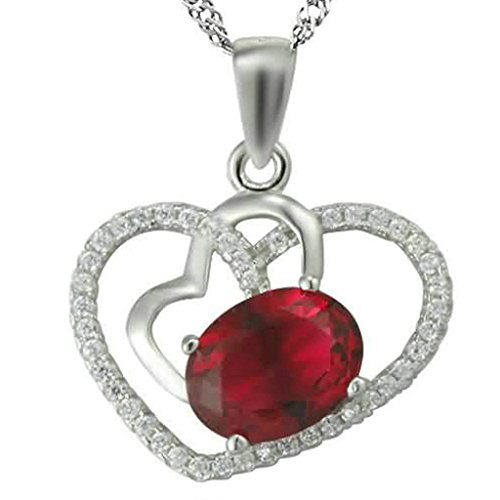 BeyDoDo Modeschmuck Damen Halskette mit Anhänger Silber 925 Herz Oval Zirkonia Silber Rot Kette