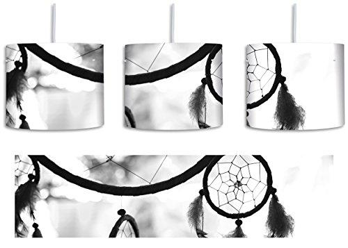 Traumfänger bei Sonnenuntergang Kunst B&W inkl. Lampenfassung E27, Lampe mit Motivdruck, tolle Deckenlampe, Hängelampe, Pendelleuchte - Durchmesser 30cm - Dekoration mit Licht ideal für Wohnzimmer, Kinderzimmer, Schlafzimmer