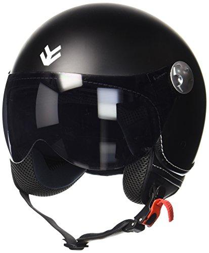 Armor · AV-84 'Matt Black' (black) · Casco Demi Jet · Moto Scooter Urbano Motocicletta Piloto Helmet · ECE certificato · Visor · Click-n-SecureTM Clip · Borsa per il trasporto · S (55-56cm)