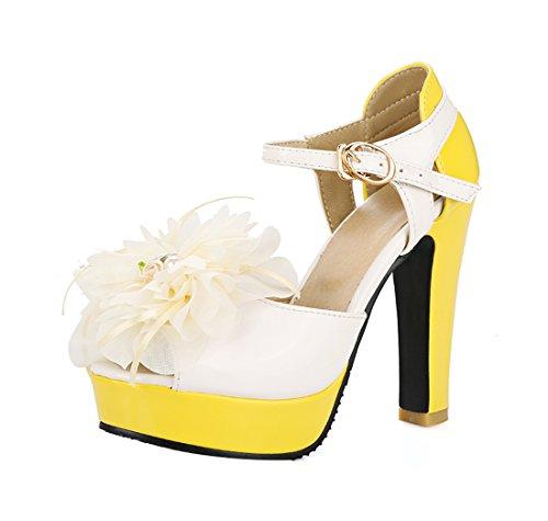 YE Damen Süß High Heels Peeptoes Riemchen Sandalen mit Blockabsatz und BlueM 12CM Absatz Sommer Schuhe