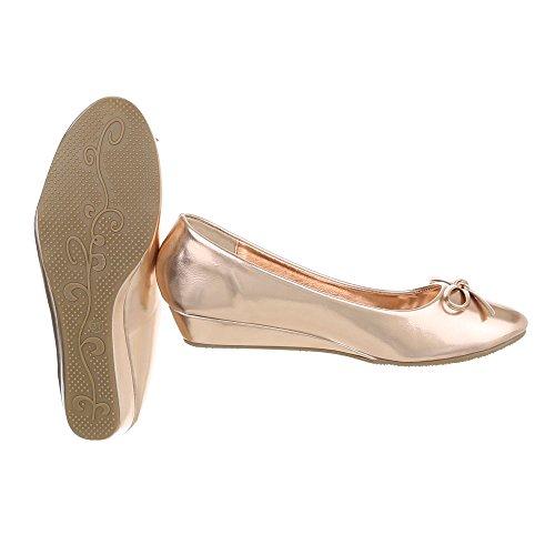Ital-Design , chaussures compensées femme Rosa Gold 6267-P