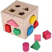 Zerodis Clasting Cube Intelectual 13 Agujeros Forma Caja Niños Bebé Juguetes Educativos Colorido Madera Geometría Puzzle Bloque de Construcción