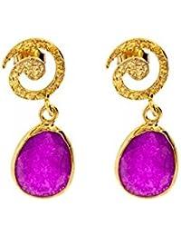 Córdoba Jewels | Pendientes en plata de Ley 925. Diseño Espiral Calcedonia Oro
