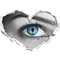 bella blu iris nero / bianco a forma di cuore nel formato sguardo, parete o adesivo porta 3D: 92x64.5cm, autoadesivi della parete, Stickers murali, Wanddekoratio