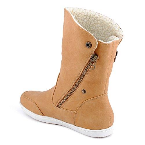 Damen Stiefeletten Stiefel Reißverschluss warm gefüttert Schlupfstiefel Biker Boots Schuhe Camel EU 36