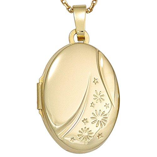Medaillon Anhänger zum Öffnen Gravur Sternchen 585 Gold Gelbgold oval Amulett