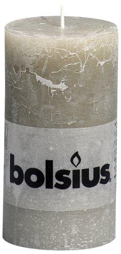 BOLSIUS Stumpenkerze Rustic 130/68, kieselgrau