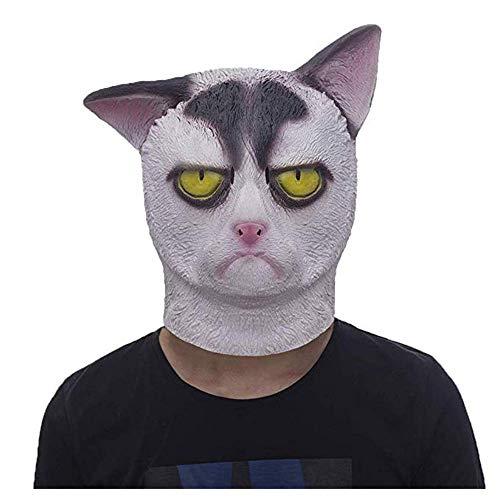 Lixinfushi Grumpy Cat Mask Halloween Kostüm Party Neuheit Tierkopf Gummi Latex Maske Schwarz Und Weiß (Grumpy Cat Kostüm)
