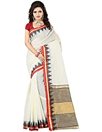 Women's Red & Off-White Coloured Ethnic Women's Cotton Saree By VASTRA
