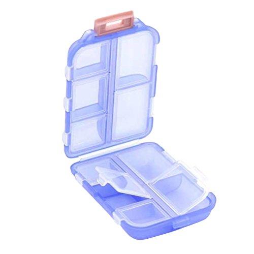 ROSENICE Pillendose Reise Pille Fall Camping Portable Pillen Container mit 10 Kammern Doppelschicht Drug Seal Lagerbehälter Halter (Blau)