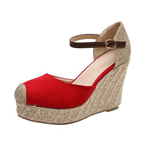 Logobeing Sandalias Mujer Verano 2019 Plataforma Cuña Flock Wedges Tobillo Alto Sandalias Al Aire Libre Punta Redonda Calzado Casual Zapatos Zapatillas (37, Rojo)