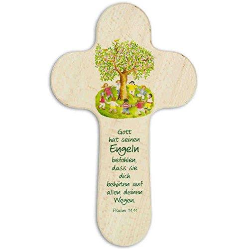 kruzifix24 Devotionalien Kinderkreuz Holzkreuz Kinder Tanzen Um Einen Baum - Lebensbaum - Taufkreuz - Geschenk zur Geburt 21 x 12,5 cm