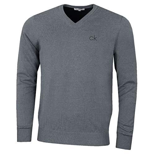 Calvin Klein Herren V-ausschnitt (Calvin Klein Golf Herren V-Ausschnitt-Tour Sweater - Grau Marl - M)