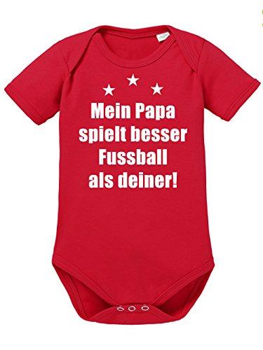 clothinx Baby Body Unisex Mein Papa spielt besser Fussball als deiner Rot/Weiß Größe 62-68