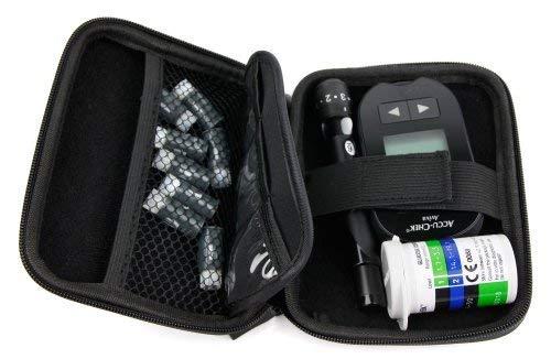 DURAGADGET Hartschalenkoffer für die Steuerung von Insulin und Colesterol mit Mini-Karabiner