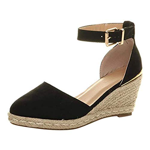 QUINTRA_GSS Keile Sandals Womens Buckle Ankle Strap Sandals Keile Sandals Summer Weaving Breathable Shoes Patent-flat T-strap Sandal