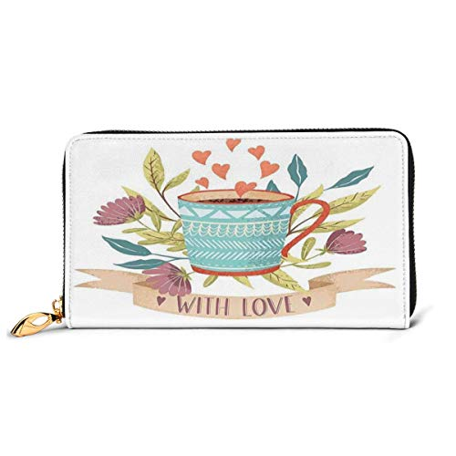 Women's Long Leather Card Holder Purse Zipper Buckle Elegant Clutch Wallet, Hand Drawn Cup Flower Blossom and Heart with Love Quote Romantic Valentines Day,Sleek and Slim Travel Purse