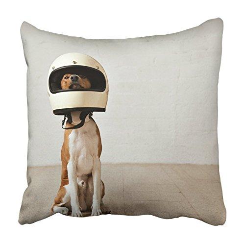 Square Throw Waist Pillow Case 18x18 pollici cuscino decorativo basenji cane indossa un enorme casco moto bianco copriletto tiro con cerniera nascosta per arredamento camera da letto divano divano
