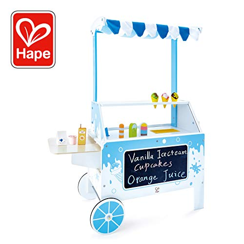 Hape E3139 Mobiler, Spielzeug Eisstand für Kinder, aus Holz, ab 3 Jahren, weiß/blau - Hape Spielzeug-lebensmittel
