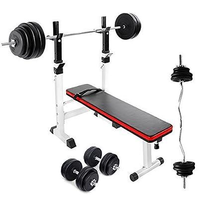TNP Accessories® Adjustable Folding Weight Bench + 30KG Dumbbell Set + 60KG Barbell Bar Set + 25KG Barbell EZ Bar Set from TNP Accessories