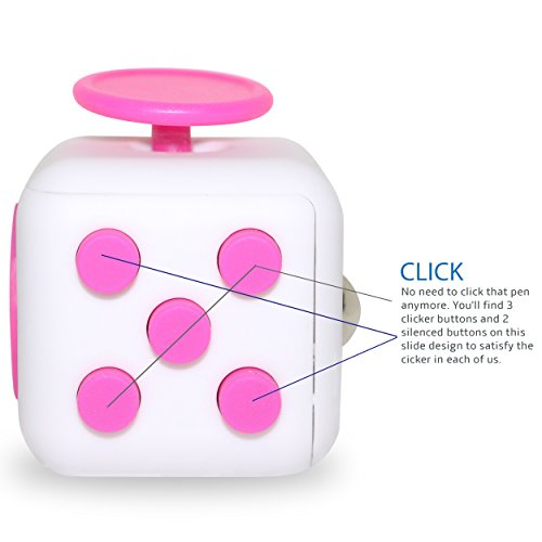 Preisvergleich Produktbild Fidget Cube - gadget / toy against stress, restless hands, perfect for nervous fingers for distraction, known from kickstarter - comparable to the original (White and Pink)