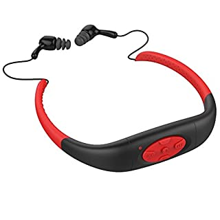 Awakingdemi Waterproof MP3 Headphone,Waterproof Sport Stereo Mp3 Player with Fm Radio for Swimming Surfing