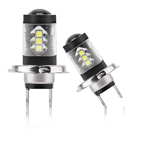 Phare Antibrouillard H7 LED 6500K Blanc 80W 12V CREE Ampoule LED Lampe de course de jour de voiture DRL imperméable à l'eau Diesel Auto Zone