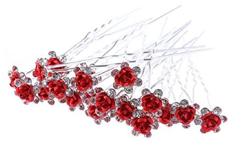Accessoires cheveux coiffure mariage 1 lot de 10 épingles à chignon fleurs à strass rouges