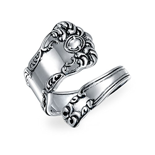 Bling Jewelry Adjustable Spoon Oxidized Sterling Silver Ring