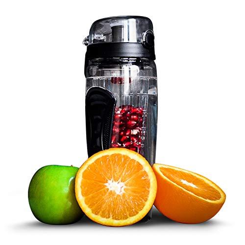 fruiti-n'fuser Trinkflasche | Wasserflasche mit Fruchteinsatz | Sporttrinkflasche 1L | Sportflasche aus Tritan (BPA-frei) | Trinkgefäß in schwarz