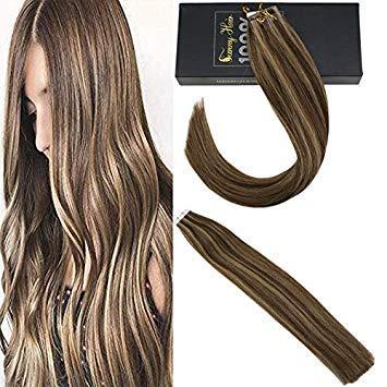 Sunny extension adesive capelli veri highlight marrone scuro a bionda caramello p4/27# 10 fasce remy capelli umani tape extensions 40cm 25g/set