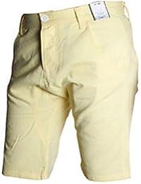 Mens Cotton Plain Designer Summer Chino Jean Shorts Bottoms - Summer Colours Pink Yellow Cerise Purple Green - Size 28 - 38 inch