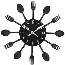 UNIQUEBELLA posate orologio, orologio con posate, orologio da cucina, orologio da parete, analogico in metallo D 33 cm, Metallo, nero