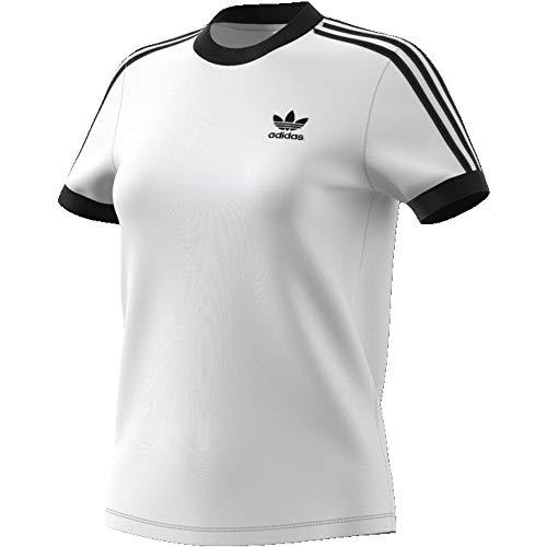 Adidas 3 stripes tee, t-shirts donna, white, 42