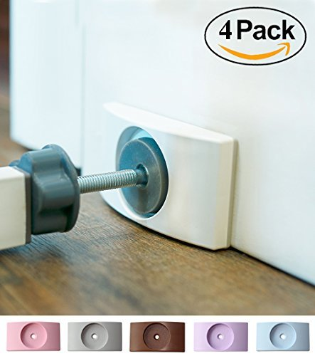 Wall Nanny (4 Pack - Made in USA) Indoor Baby Gate Wall Protector - No Safety Hazard on Bottom Spindles - Small Saver Pad Saves Trim &Paint - Best Dog Pet Child Walk Thru Pressure Gates Guard (White)